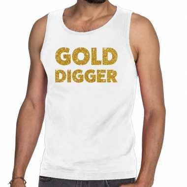 Toppers gold digger glitter tanktop / mouwloos shirt wit heren