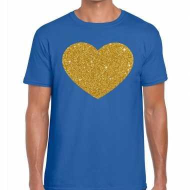 Toppers gouden hart glitter fun t t shirt blauw heren
