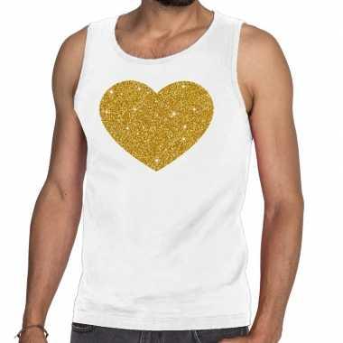 Toppers gouden hart glitter tanktop / mouwloos shirt wit heren