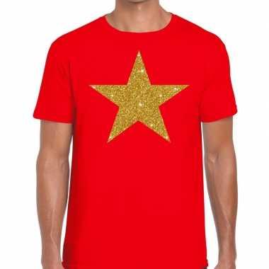 Toppers gouden ster glitter fun t shirt rood heren
