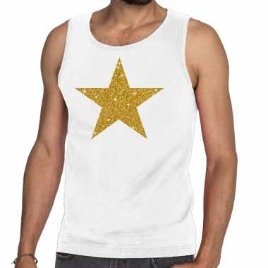 Toppers gouden ster glitter tanktop / mouwloos shirt wit heren
