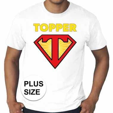 Toppers grote maten super topper logo t shirt wit heren