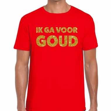 Toppers ik ga goud glitter tekst t shirt rood heren