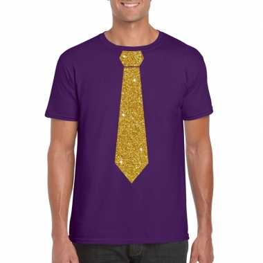 Toppers paars fun t shirt stropdas glitter goud heren
