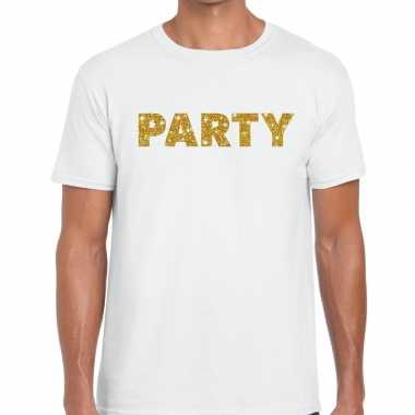 Toppers party goud glitter tekst t shirt wit heren
