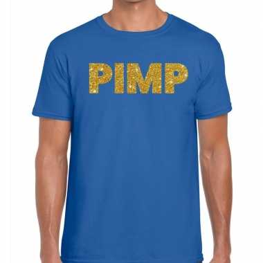 Toppers pimp glitter tekst t shirt blauw heren
