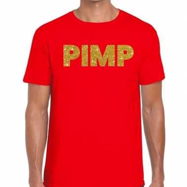 Toppers pimp glitter tekst t shirt rood heren