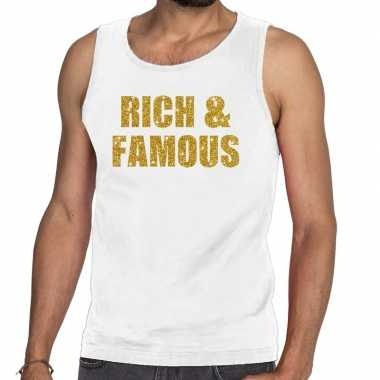 Toppers rich and famous glitter tanktop / mouwloos shirt wit heren