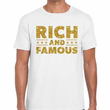 Toppers rich and famous goud glitter tekst t shirt wit heren