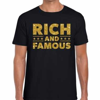 Toppers rich and famous goud glitter tekst t shirt zwart heren