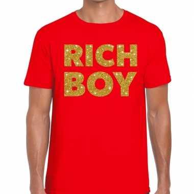Toppers rich boy goud glitter tekst t shirt rood heren
