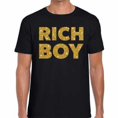 Toppers rich boy goud glitter tekst t shirt zwart heren