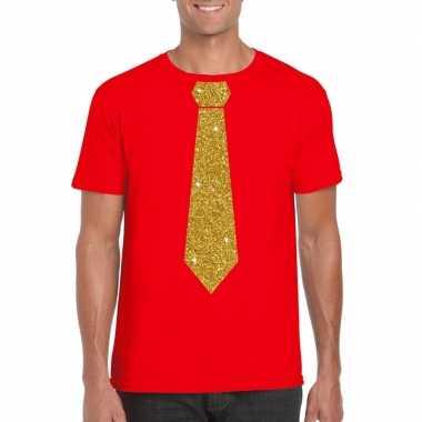 Toppers rood fun t shirt stropdas glitter goud heren