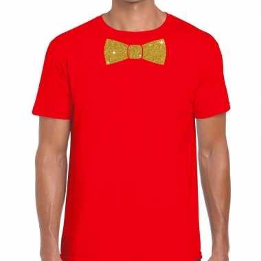 Toppers rood fun t shirt vlinderdas glitter goud heren
