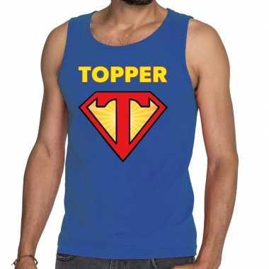 Toppers super topper logo tanktop / mouwloos shirt blauw heren