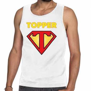 Toppers super topper logo tanktop / mouwloos shirt wit heren