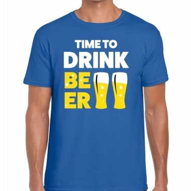 Toppers time to drink beer heren t shirt blauw
