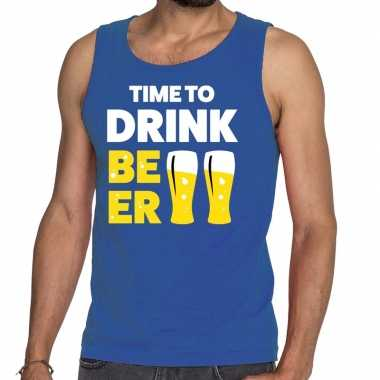 Toppers time to drink beer tekst tanktop / mouwloos shirt blauw