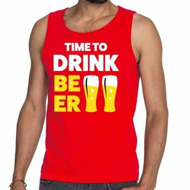 Toppers time to drink beer tekst tanktop / mouwloos shirt rood