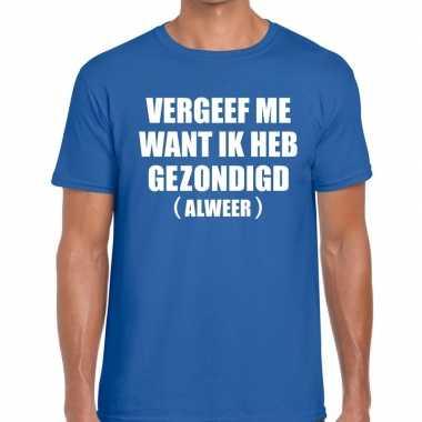 Toppers vergeef me heren t shirt blauw