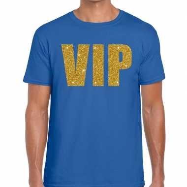 Toppers vip glitter goud heren t shirt blauw