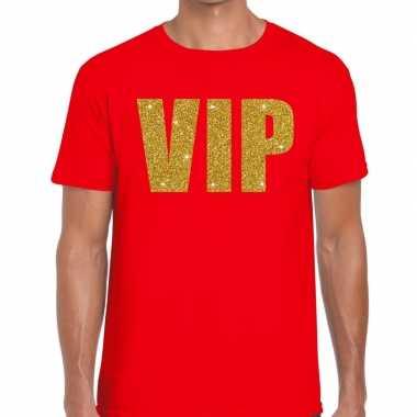 Toppers vip glitter goud heren t shirt rood