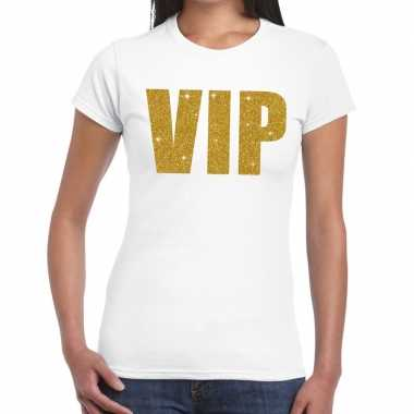 Toppers vip goud glitter tekst t-shirt wit dames