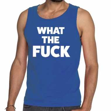 Toppers what the fuck tekst tanktop / mouwloos shirt blauw heren