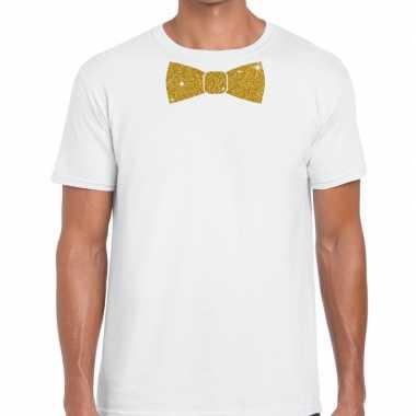 Toppers wit fun t shirt vlinderdas glitter goud heren