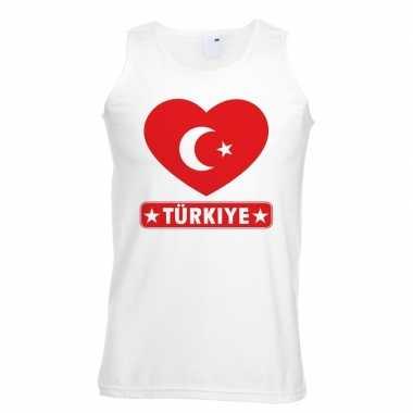 Turkije hart vlag singlet shirt/ tanktop wit heren