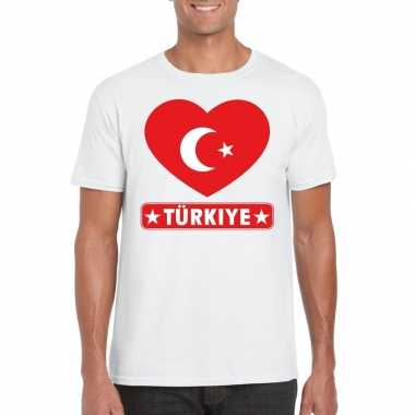Turkije hart vlag t-shirt wit heren