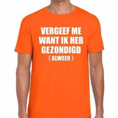 Vergeef me tekst t shirt oranje heren