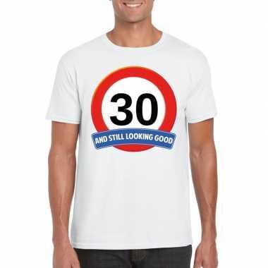 Verkeersbord jaar t-shirt wit heren 10107033