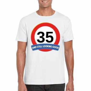 Verkeersbord jaar t-shirt wit heren 10107064