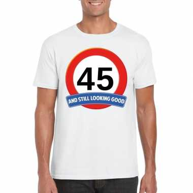 Verkeersbord jaar t-shirt wit heren 10107066