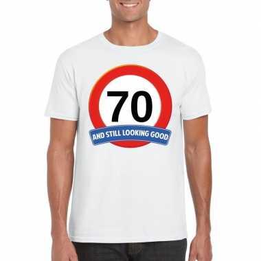 Verkeersbord jaar t-shirt wit heren 10107071