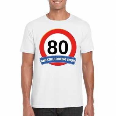 Verkeersbord jaar t-shirt wit heren 10107073