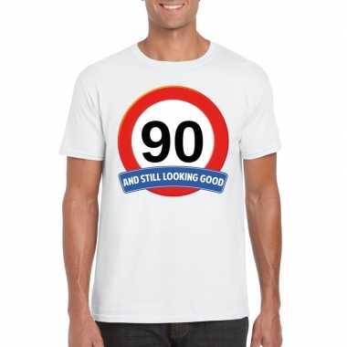 Verkeersbord jaar t-shirt wit heren 10107075