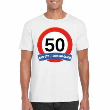Verkeersbord jaar t-shirt wit volwassenen