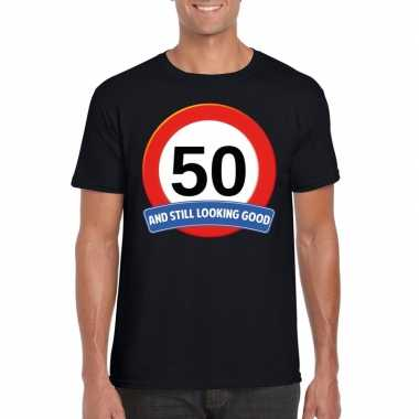 Verkeersbord jaar t-shirt zwart heren 10107039