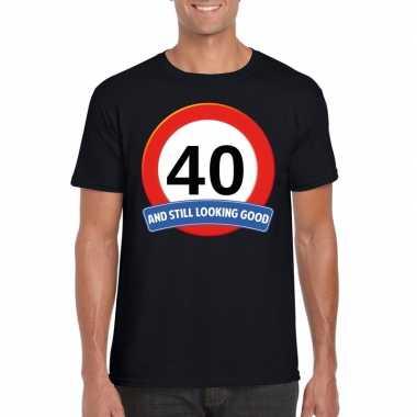 Verkeersbord jaar t-shirt zwart heren 10107163