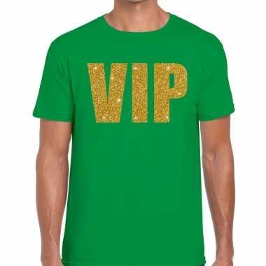 Vip goud glitter tekst t shirt groen heren