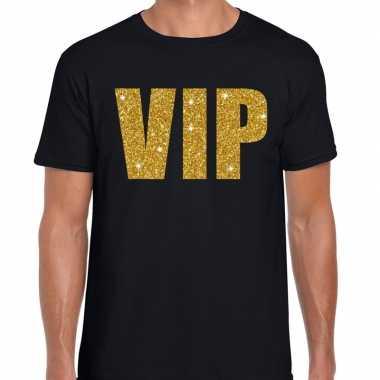 Vip tekst t shirt zwart gouden glitter letters heren