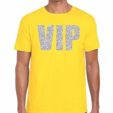 Vip zilver glitter tekst t shirt geel heren