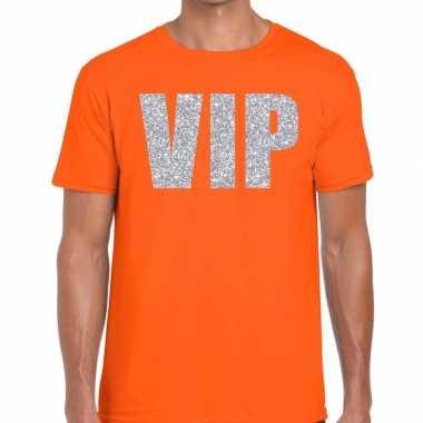 Vip zilver glitter tekst t shirt oranje heren