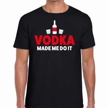Vodka made me do it fun t shirt zwart heren