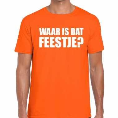 Waar is dat feestje heren t shirt oranje