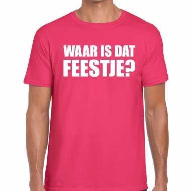 Waar is dat feestje heren t shirt roze