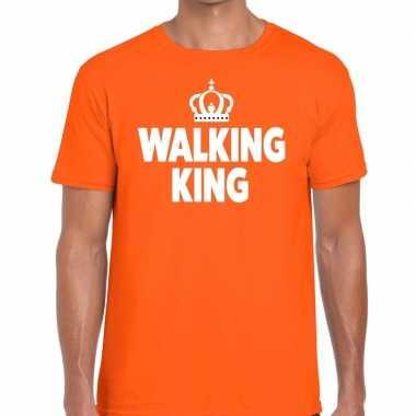 Walking king t shirt oranje heren