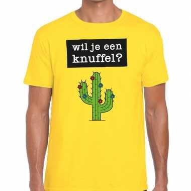 Wil je een knuffel tekst t shirt geel heren